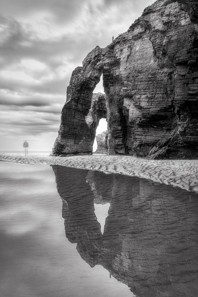 Galicia Playa de Las Catedrales Blanco y negro