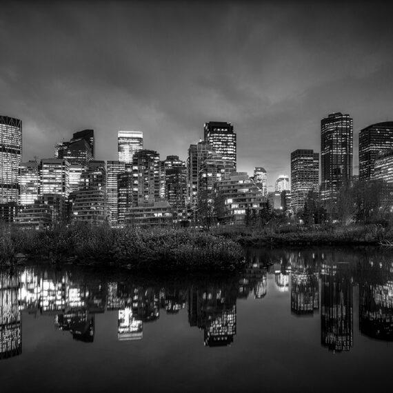 Canadá Calgary skyline B&W
