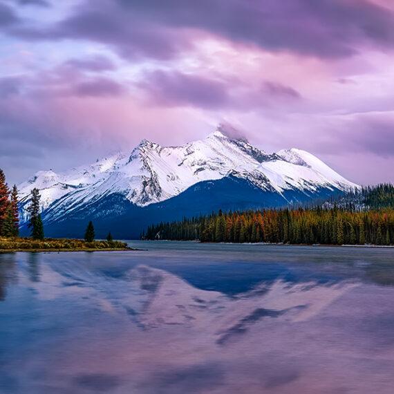 Canadá_Atardecer en Maligne Lake