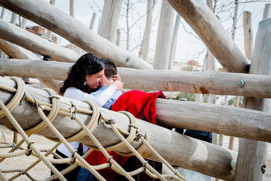 Fotografías de pareja. Nuria y Antonio en Madrid Río.